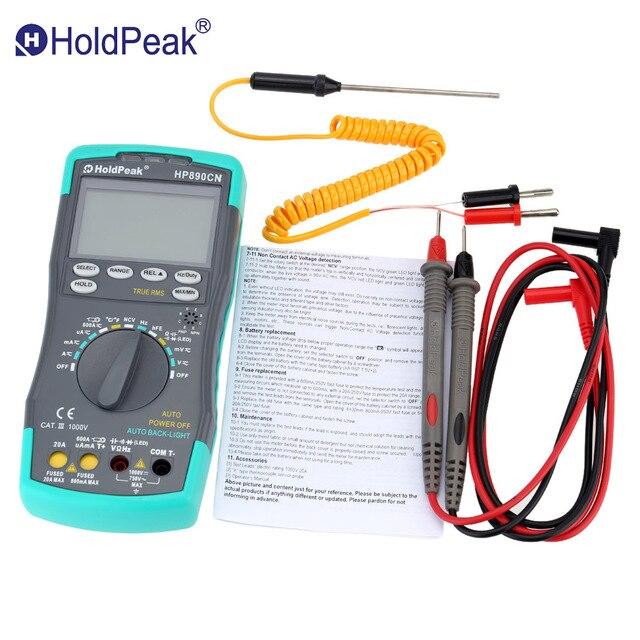 Holdpeak hp-890cn Цифровой мультиметр Подсветка AC/DC Амперметр Вольтметр Ом Портативный Измеритель сопротивления Частота Рабочий цикл Тесты