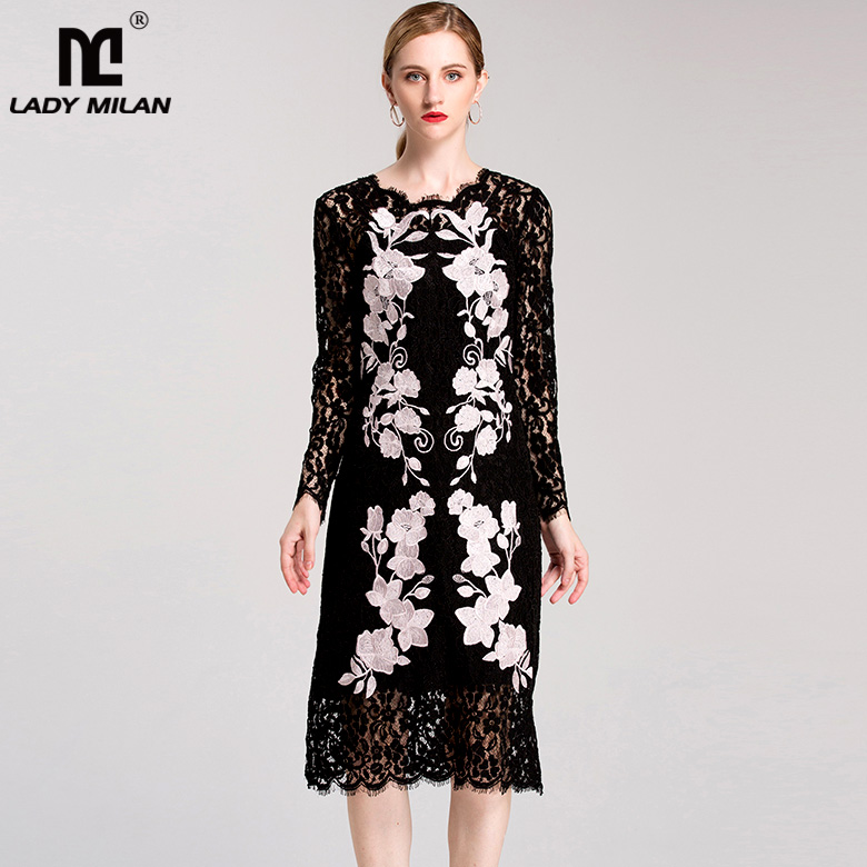 New Arrival 2018 Womens O Neck Long Sleeves Embroidery Lace Color Block Fashion Runway Dresses