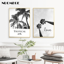 Modern Wall Art Palm Trees Birds Poster Minimalist Black White Canvas Painting Nordic Print Picture for Living Room