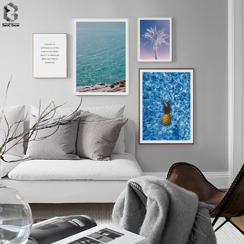 FLOATING PINEAPPLE Canvas Art Painting Seascape Quotes Nordic Poster Print Decoration Picture Modern Home Decor