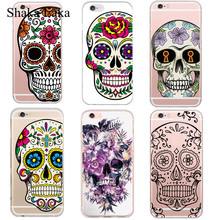 Cool Floral Sugar Skull Head Phone Case Cover For iphone 5 5s SE 6 6splus Skull Life Colored Painting Soft Silicon Plastic Case  стоимость