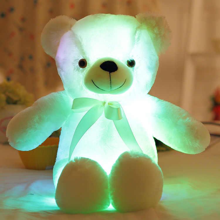 32/50cm duże kolorowe świecące miś Luminous pluszowe zabawki Kawaii zapala się pluszowy miś pluszowe zabawki lalki dla dzieci prezent na boże narodzenie