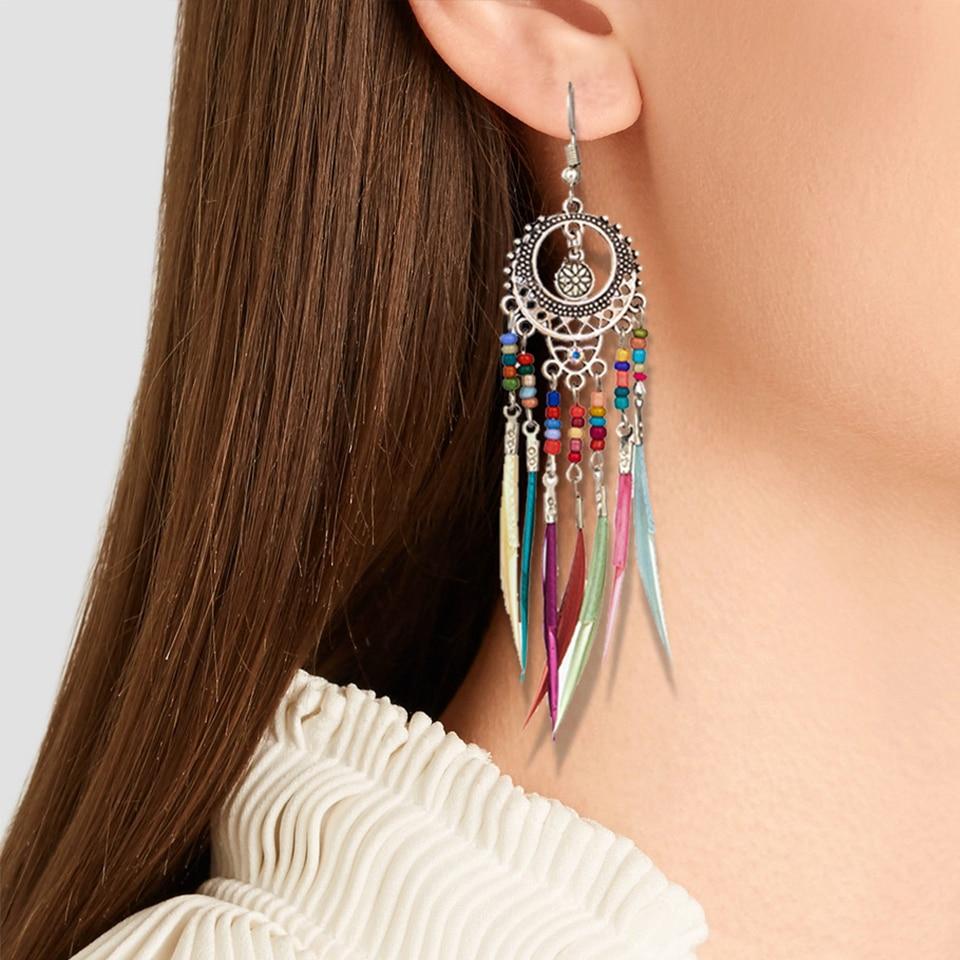 Boêmio étnico longa instrução colorido borla gota brincos boho resina grânulos franja brincos para a moda feminina balançar brinco