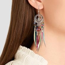 Bohemian Ethnic Long Statement Colorful Tassel Drop Earrings Boho Resin Beads Fringe Earrings for Women Fashion Dangle Earring green bohemian style colorful water drop crystal tassel long dangle earring