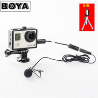 BOYA BY LM20 Lavalier Clip On Omnidirectional Condenser Microphone For Gopro Microfone HERO3 HERO3 HERO4 Black