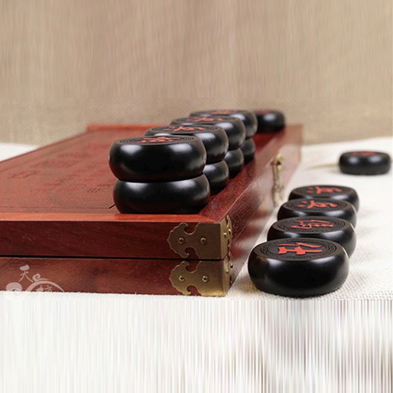 BSTFAMLY Chinese Chess Rosewood Fold Box Size 5 Old Game of Go Xiang Qi International Checkers Folding Toy Gift No Magnetic LC19