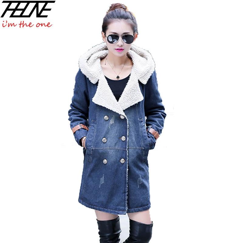 купить New 2017 Denim Parkas for Women Hooded Thicken Warm Fleece Winter Jackets Overcoat Outwear Plus Size Long Winter Coats Elegant дешево