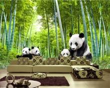 Купить с кэшбэком Beibehang Custom Wallpaper Giant Panda Bamboo Landscape Painting Background Wall Kids Room Cartoon Stroke 3d Wallpaper mural