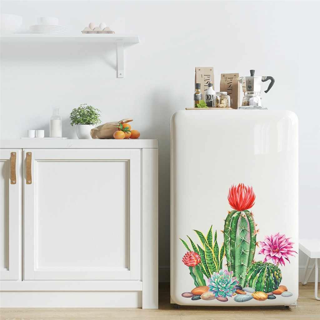 % De Cactos e suculentas Vaso de Plantas flores DIY Adesivos de Parede sala de estar Sofá Fundo Da Parede Do Berçário Mural Art Vinyl Removível Cartaz