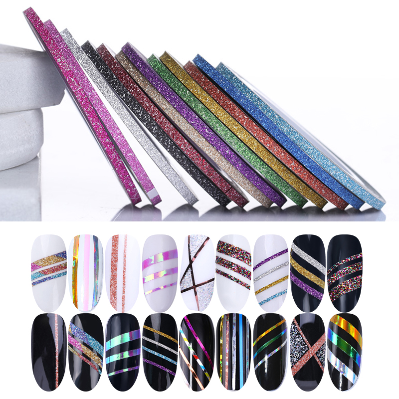 12 Rolls Matte Glitter Nail Striping Tape Set 2mm Line Multi Color Styling Tool Nail Art Transfer Sticker Nail Art Decals Kit