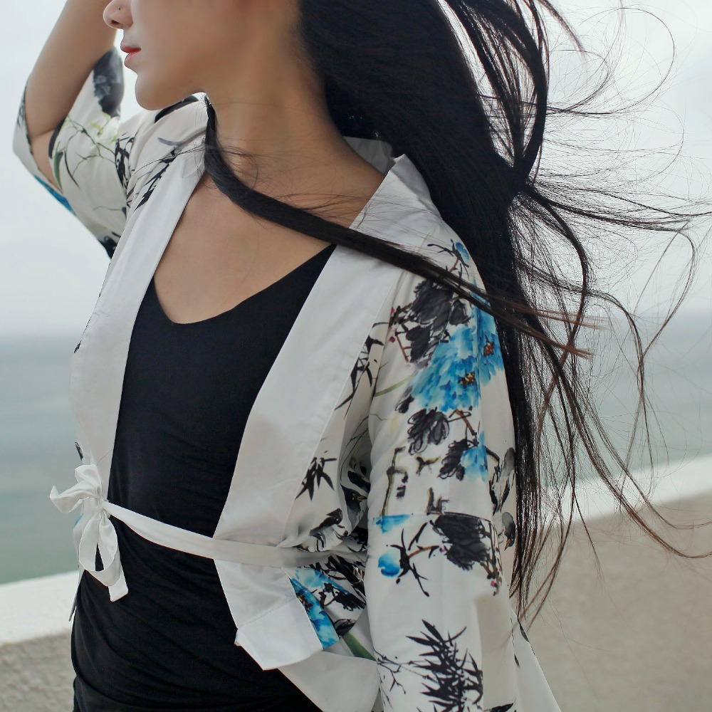 Kimono Manches Conception Bambou Chinois Fille Mori Lâche V Nouveau Barré cou Originale Style 2017 TPIxgw80qw