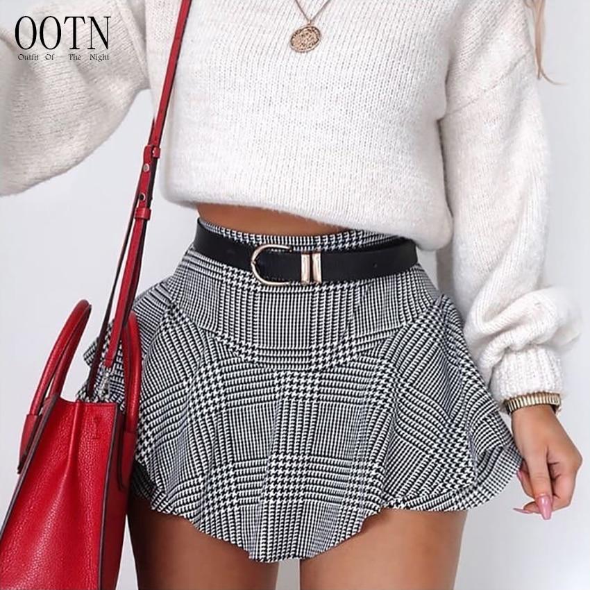 c4d687d35b20 € 17.45 |OOTN negro blanco a cuadros Mini corto Sexy verano Shorts mujeres  volantes alta cintura falda pantalones cortos Mujer Vintage 2018 Retro ...