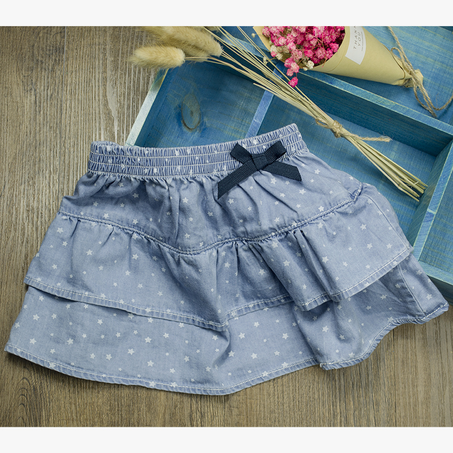 2017 New Arrival Infant Baby Girls Denim Mini Skirt Newborn Elastic Waist Bow All Match A-line Tutu Skirt Star Pattern Clothing
