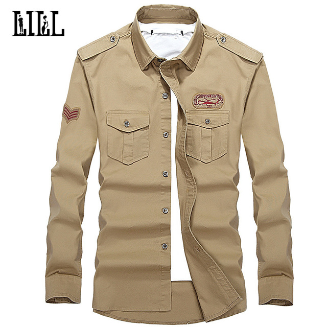 91bd7fe4 Pure Cotton Embroidery Military Pilot Shirt Men Breathable Army Style Air  Force 1 Long Sleeve Shirts