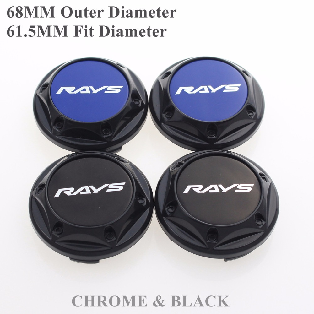 68MM RAYS Caps On Wheels Car-Covers Rays Logo Badge Sticker Centre Hubcap Fit Diameter 61.5MM Calota Tampa Centro Roda SET OF 4