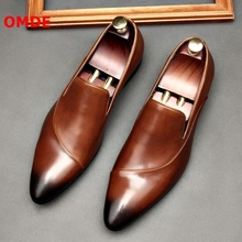 OMDE Pointed Toe Slip On Leather Shoes Men Soft Genuine Leather Loafers Dress Shoes Breathable Summer Office Shoes Formal Shoes akamatsu embossed genuine leather formal business men shoes square toe slip on men dress loafers black office men shoes