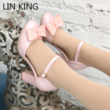 LIN KING Women Pumps Square High Heels 8cm Spring Summer Sandals Fashion Adorable Women Lolita Bowknot Shoes Plus Size 34-43