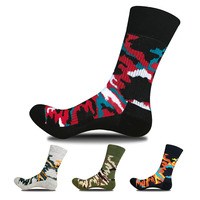 4 Pcs Camouflage Men S Socks Cotton Comfortable Crew Socks For Mens Breathable Towel Socks Sweat