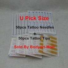 50PCS U Pick Size Sterile Tattoo Needle + 50PCS Yellow Disposable Tattoo Tips Supply TNYT-50#