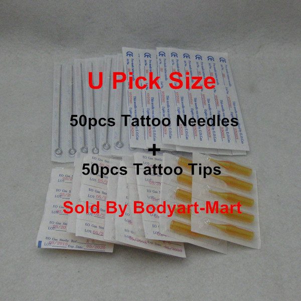 50PCS U Pick Size Sterile Tattoo Needle + 50PCS Yellow Disposable Tattoo Tips Supply TNYT-50#