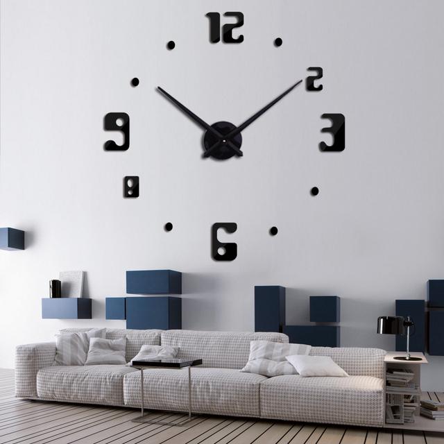 2017 new wall clock acrylic mirror clocks reloj de pared quartz watch horloge home living room modern vintage diy 3d stickers