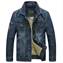 Men Jeans Jackets High Quality China Online Winter Style Winter Velevet Warm Brand Mens Denim Jackets Coat Plus Size 3XL C1404