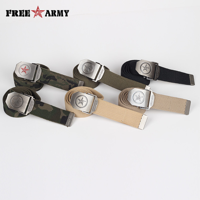 FreeArmy Brand Canvas Belts Male Adjustable Plain Unisex Mens Casual Belts Military Tactical Belts Buckle Designer Belts