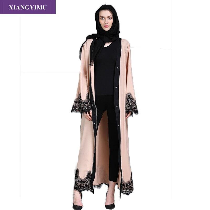 Factory direct f8809-2 Muslim Abaya lace collage cardigan robe Ramadan Middle East Thobe popular Arab Turkey Malaysia Abaya fash