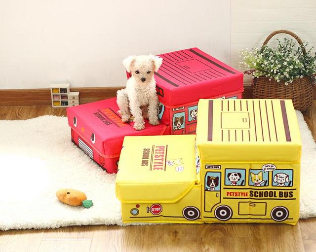 15PT10 Pet Furniture Cute Cartoon School Bus Pet Stairs Folded Storage Box Folding  Stairs 2