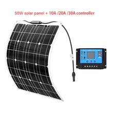 50 Watt 16V Solar Panel Kit + 20/30/10A 12V PWM Controller Monocrystalline High Efficiency panele fotowoltaiczne Charger