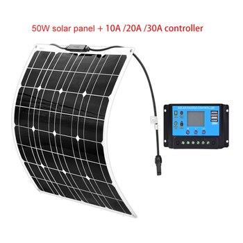 Xinpugaung Brand 50 Watt 16V Solar Panel 50w Kit 20/10A 12V PWM Solar Controller High Efficiency panele fotowoltaiczne Charger