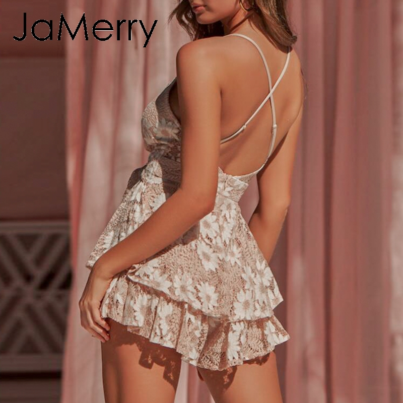 JaMerry Backless sexy lace floral romper   jumpsuit   women Holiday summer strap sash   jumpsuit   Boho party playsuit   jumpsuit   overalls