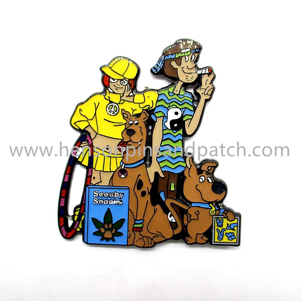 Free shipping man and dog soft enamel metal pin badge