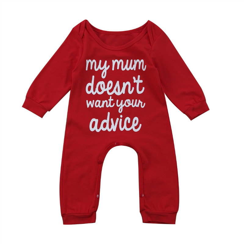 Pudcoco Infant New Born Baby Boys Rompers Girls Rompers Clothes Red Overalls Newborns Clothing Letter Print Long Sleeve Jumpsuit baby clothing summer infant newborn baby romper short sleeve girl boys jumpsuit new born baby clothes