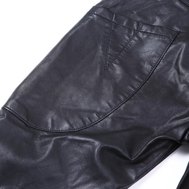 Модные мужские джинсы, обтягивающие кожаные мотоциклетные прямые брюки, размер 28-38, A102