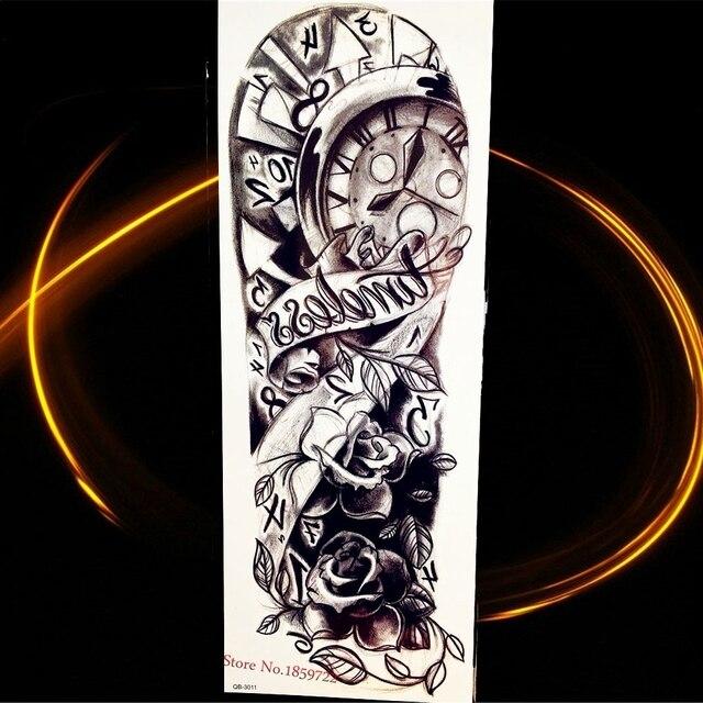 0590223ac 3D Black Compass Clock Rose Big Flower Body ARt ARm Fake Temporary Tattoo  Sticker 17*46CM Waterproof Flash Tattoo Sleeve HQB-011