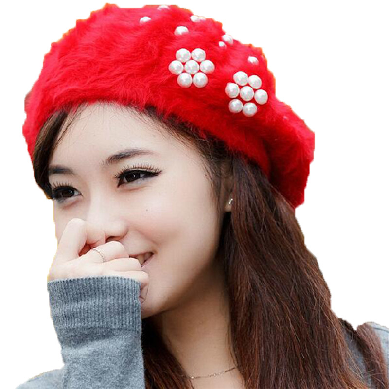 DOUBCHOW Womens Soft Fluffy Pearl Artist French Berets Hats 2019 Classical Juniors Girls Rabbit Fur Baret Beanie Flat Hat