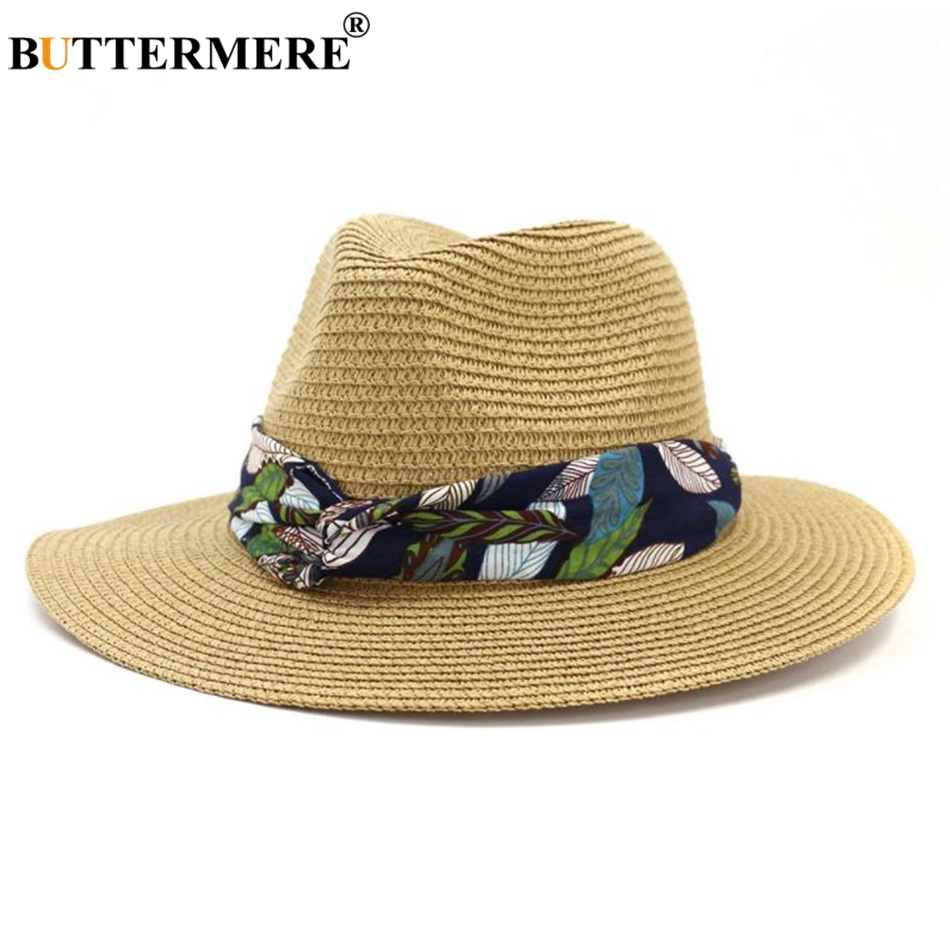 BUTTERMERE Sun Hat Women Straw Panama Hat Female Print Beach Fedora Outdoor Summer Khaki Casual Wide Brim Ladies Jazz Hat