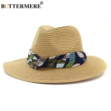 BUTTERMERE Sun Hat Women Straw Panama Female Print Beach Fedora Outdoor Summer Khaki Casual Wide Brim Ladies Jazz