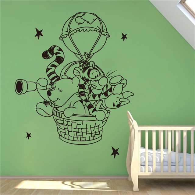 Winnie The Pooh Wall Decal Hot Air Balloon Vinyl Nursery Room Home Decoration Waterproof Removable