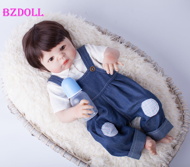 NPK 23inch Soft Cloth Body Silicone Reborn Lifelike Baby Doll Girl Bebe Alive Ch