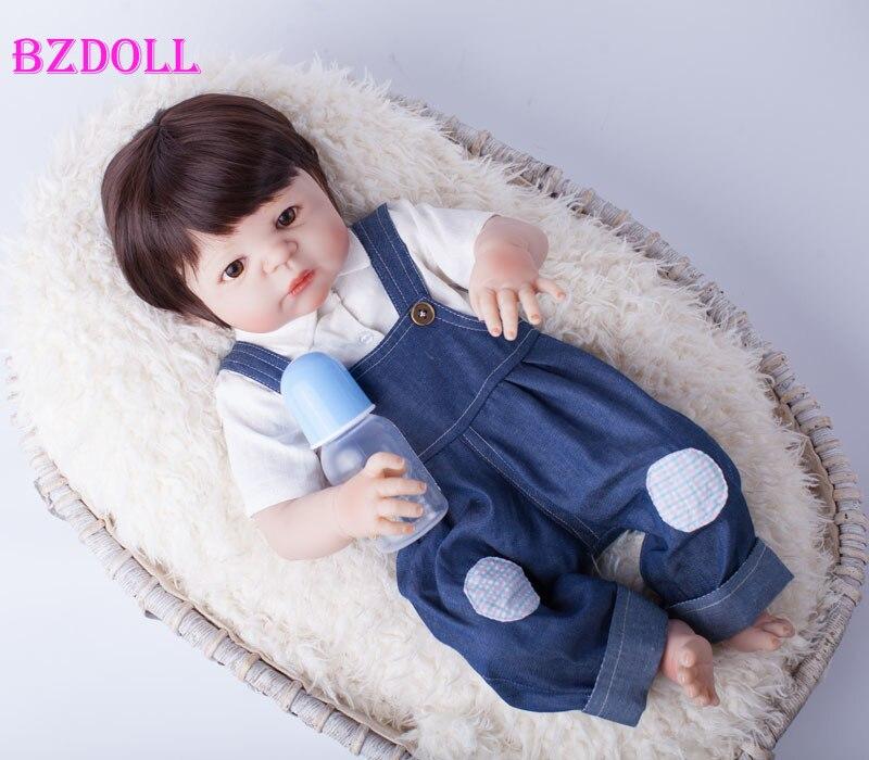 55cm corps entier Silicone Reborn bébé poupée jouets jouer maison nouveau né garçon bébé cadeau d'anniversaire noël présent bain jouet-in Poupées from Jeux et loisirs    1