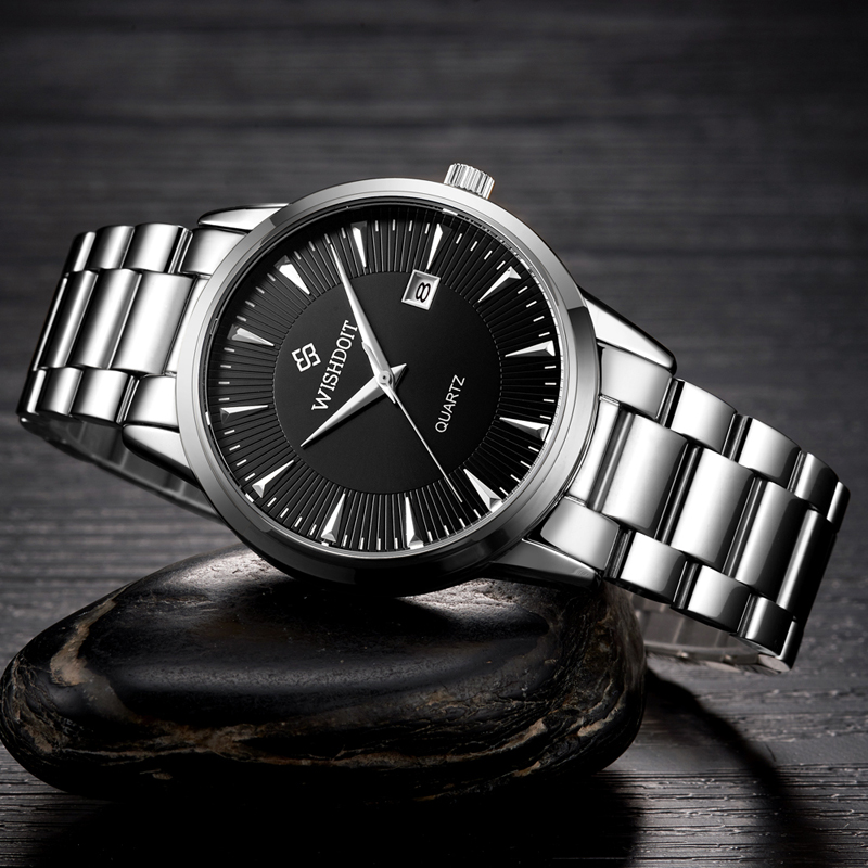 WISHDOIT Watch Men Top Brand Luxury Watches Simple Business style Fashion Quartz Wrist Watch Mens stainless steel Watch relogio wishdoit watch men top brand luxury watches simple business style fashion quartz wrist watch mens stainless steel watch relogio