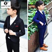 Kids 3 Pieces Plaid Formal Suit Set Vest+Pants+Blazer Boys S