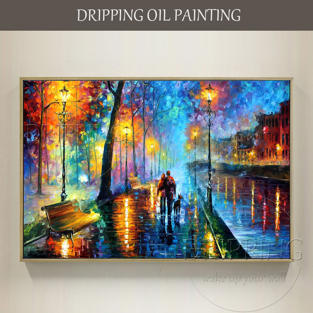 Bright colors handmade abstract landscape lover and dog - Oil painting ideas for living room ...