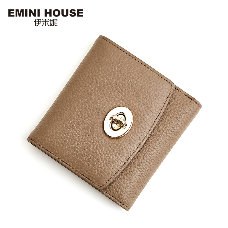 EMINI HOUSE Genuine Leather Padlock Wallets Women Short Wallet Trifold Lady Purse Cow Leather Women Coin Purse Card Wallet