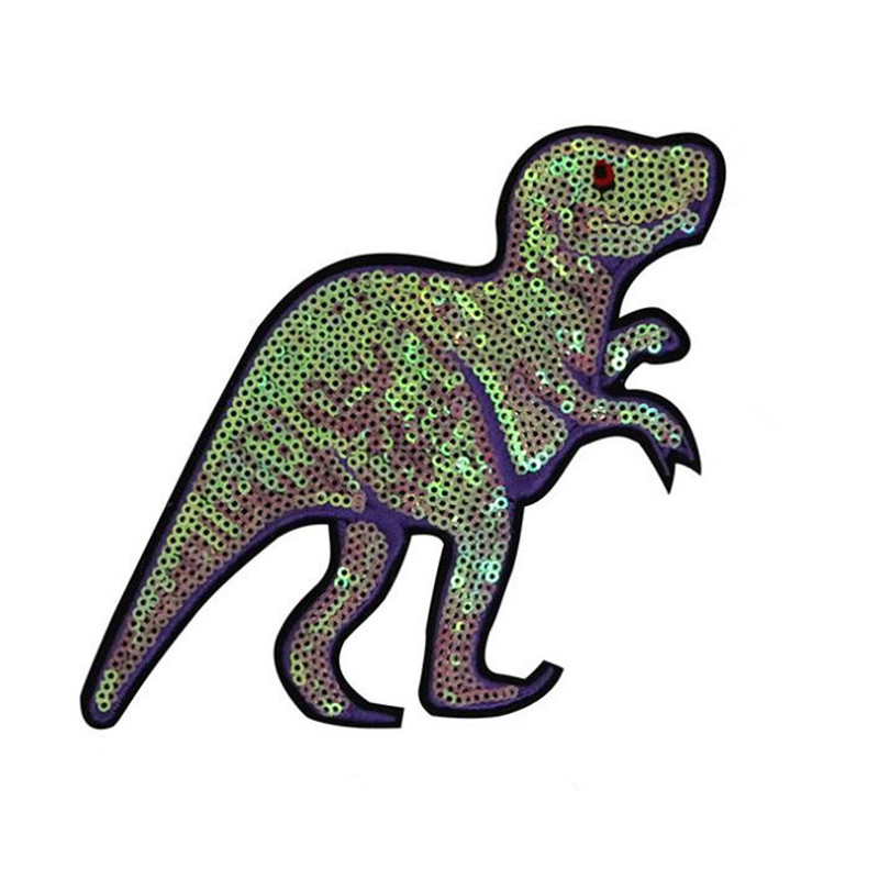 Girl men clothes Diy sequins dinosaur biker patch deal with it 13cm tyrannosaurus patches for clothing Christmas animal stickers