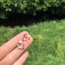 купить Korean earrings fashion jewelry garland earrings s925 silver needle pink crystal zircon flower pearl simple earrings hot sale по цене 179.11 рублей