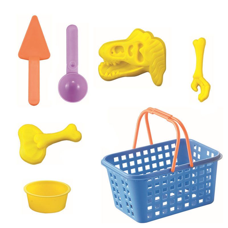 7Pcs set Summer Sand Beach Toy Colorful Dinosaur Skeleton Bone Castle Sand Mold Basket Outdoor Water Playing Classic Kids Toys in Beach Sand toys from Toys Hobbies