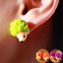 2016 New Fashion Colourful Handmade Polymer Cute Hedgehog Stud Earrings For Women Jewelry Gifts brincos 0523